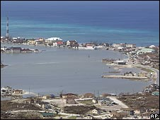 Flooded area of Grand Turk in the Turks and Caicos Islands on 9 September 2008