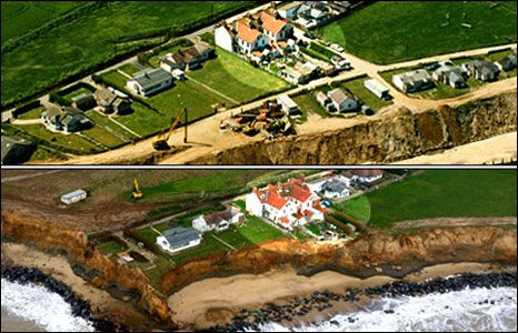 Happisburgh coast in May 1998 and, underneath, March 2007. Photo: Mike Page