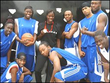 South Bank University Street basketball team with gold medallist Christine Ohuruogu