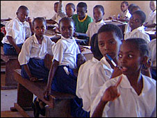 Girls in a classroom in Tanzania