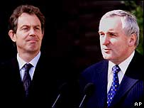 Tony Blair (left) and Bertie Ahern