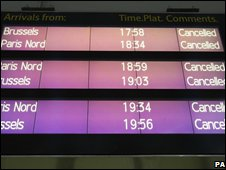 Cancellation board at St Pancras