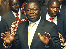 Zimbabwean opposition leader Morgan Tsvangirai speaks during a press conference in Harare on 11 September 2008