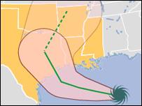 Trayectoria de Ike desde el Golfo de México