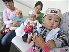 Babies suffering kidney stones possibly related to defective baby formula in hospital in Lanzhou, Gansu province, on 9 September