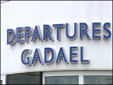 Cardiff airport sign