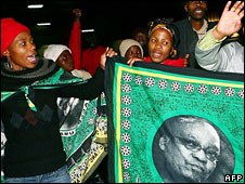 Supporters of Jacob Zuma in an all-night vigil in Pietermaritzburg