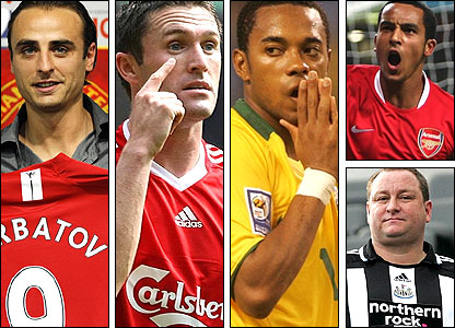 Left to right: Dimitar Berbatov, Robbie Keane, Robinho, Theo Walcott (top right) and Mike Ashley