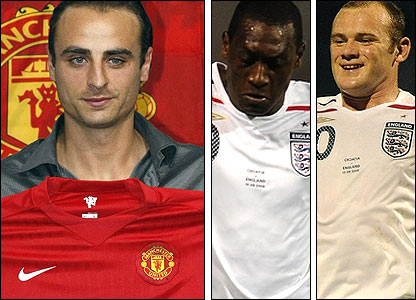 Manchester United's Dimitar Berbatov (left), England's Emile Heskey and Wayne Rooney