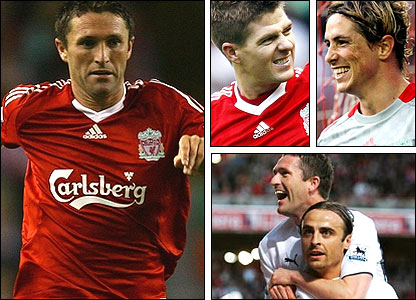 Liverpool's Robbie Keane (left); Steven Gerrard and Fernando Torres (top right); Keane with ex-Spurs partner Dimitar Berbatov
