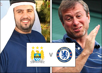 Manchester City's prospective new owner Dr Sulaiman Al-Fahim (left) and Chelsea owner Roman Abramovich