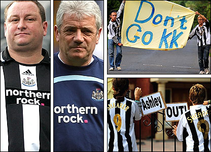 Clockwise, from left: Newcastle owner Mike Ashley; ex-boss Kevin Keegan; supporters beg Keegan not to leave; fans demand Ashley's exit