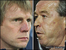 Wales Under-21 boss Brian Flynn and England Under-21 coach Stuart Pearce