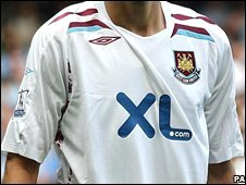 XL sponsorship West Ham shirt