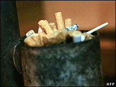 File photo of cigarettes in an ashtray in Nairobi, Kenya