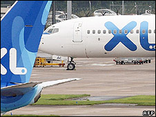 Grounded XL planes at Manchester airport