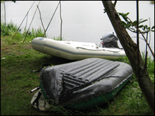 The fish poachers' boats (photo courtesy of the Environment Agency)