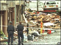 Police officers at scene of Omagh bomb