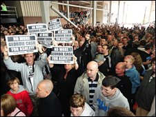 Fans outside the Milburn stand