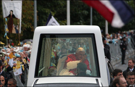 The popemobile arrives in Lourdes