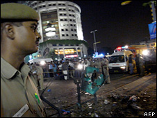 Policeman at scene of bomb blast in Delhi