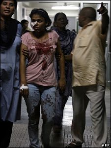 A girl injured in the blast at a park in Delhi on 13 September 2008