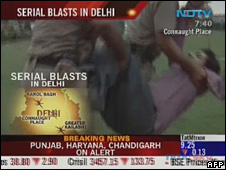 TV grab of Delhi blasts
