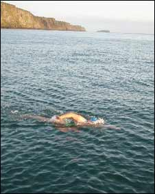 Colleen during her swim across the Irish Sea