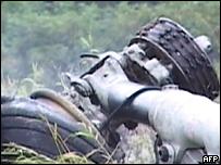 Шасси разбившегося самолета