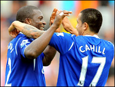 Everton's Yakubu (left) and Cahill celebrate during their side's win over Stoke