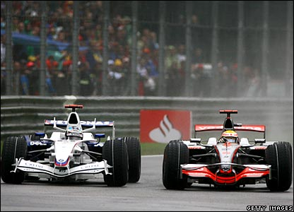 Nick Heidfeld and Lewis Hamilton