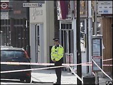 Police officer outside the E Bar in Croydon
