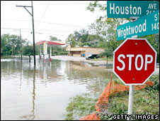 A flooded area in Houston on 14 September 2008