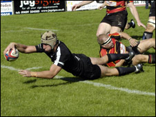 Mike Myerscough goes over for Launceston