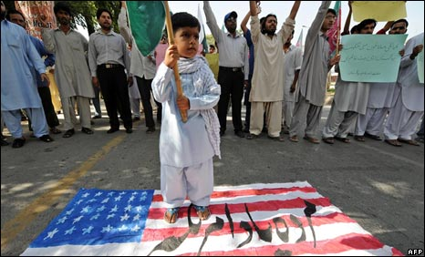 An anti-US protest in Islamabad on September 12, 2008