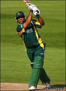 Samit Patel hits a six against Sussex