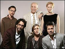 The Coen Brothers (l), John Malkovich, Tilda Swinton, Brad Pitt and Frances McDormand