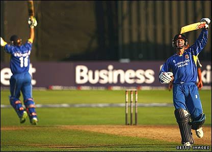 Grant Flower celebrates after Essex seal victory