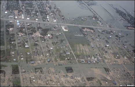 An aeriel view of Crystal Beach after Ike made landfall overnight in Galveston, Texas, on 13 September 2008