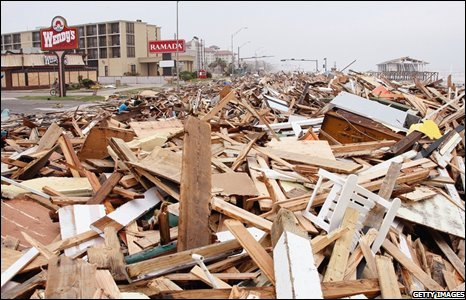 Debris from Hurricane Ike covers Seawall Boulevard on 13 September 2008 in Galveston, Texas