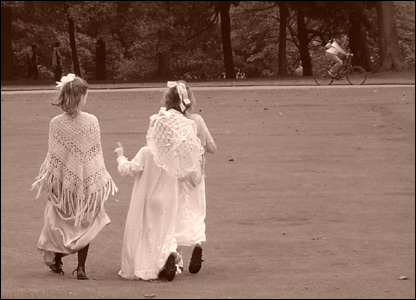 Children in Victorian dress
