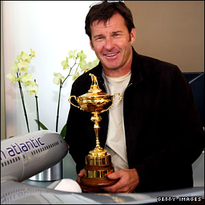 Europe captain Nick Faldo with the Ryder Cup at Heathrow Airport