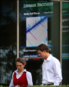 """Workers outside Lehman Brothers"""" Canary Wharf office, London"""
