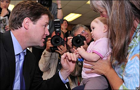 Nick Clegg meets nine-month-old Francesca Drake