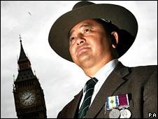 Retired Gurkha Baudhaman Limbu outside Houses of Parliament