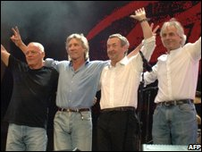 Gilmour, Waters, Mason and Wright in 2005