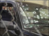 Vehículo abaleado de un policía mexicano (Foto: Archivo)