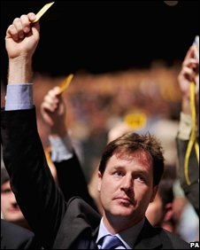 Nick Clegg casts his vote after the debate on the party's tax plans