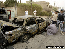 Aftermath of car bombing in Karrada district of Baghdad (15 September 2008)