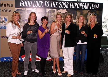 The wives and girlfriends of the European team pictured at Heathrow Airport